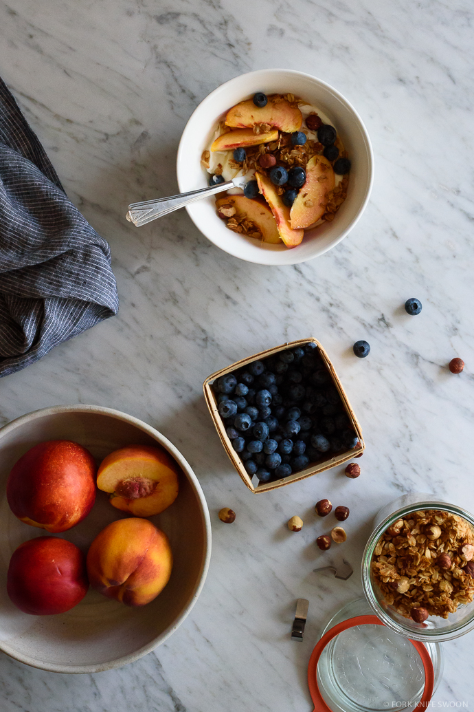 Maple Coconut Granola (v+gf) & Summer Peaches | Fork Knife Swoon @forkknifeswoon