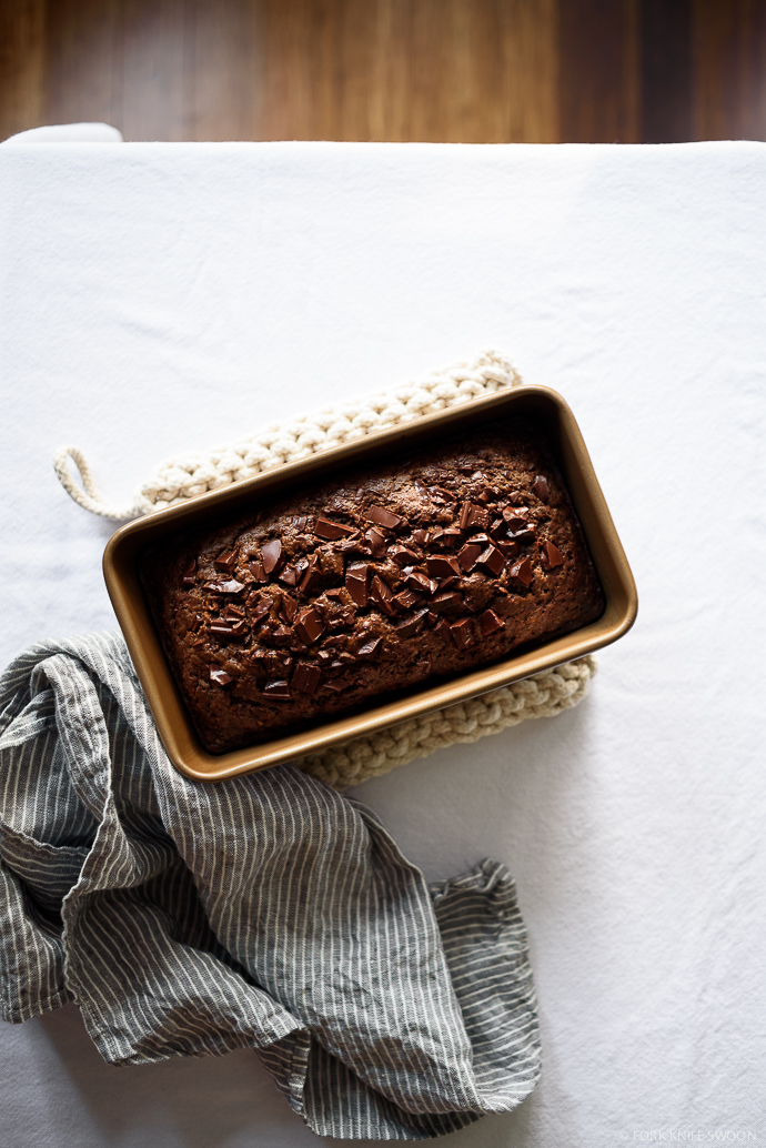 Dark Chocolate Olive Oil Zucchini Bread | Fork Knife Swoon @forkknifeswoon