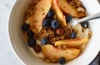 Maple Coconut Granola (v+gf) & Summer Peaches via forkknifeswoon.com