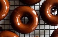 Heavenly Baked Chocolate Banana Doughnuts with an Espresso Chocolate Glaze via forkknifeswoon.com