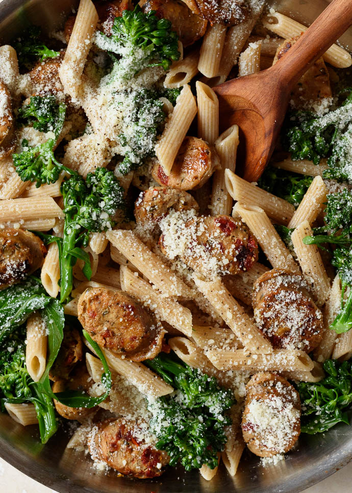 Whole Grain Pasta with Broccoli and Chicken Sausage - Fork Knife Swoon