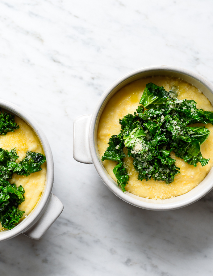 Creamy Goat Cheese Polenta with Sauteed Garlicky Greens: simple ...