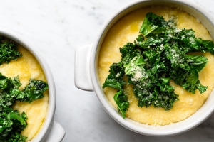 Creamy Goat Cheese Polenta with Sauteed Garlicky Greens: simple comfort food at its finest! via forkknifeswoon.com