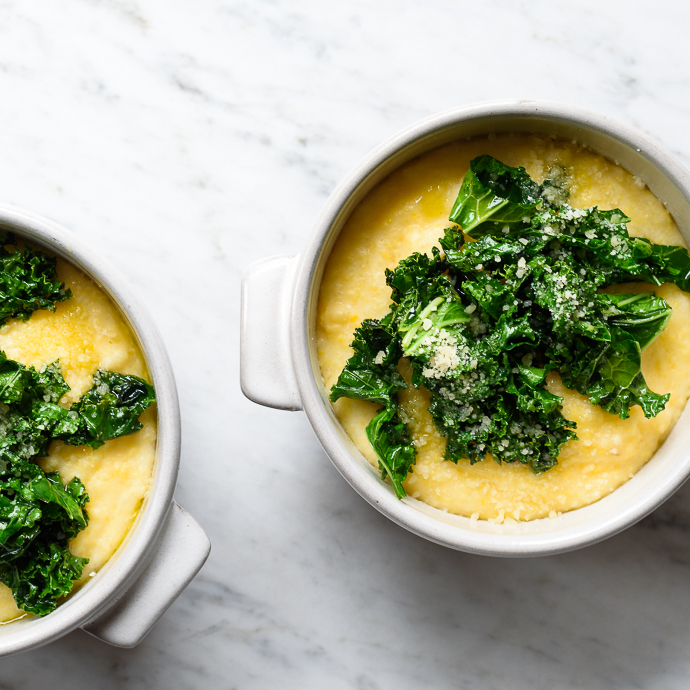 Creamy Goat Cheese Polenta with Garlicky Greens - Fork Knife Swoon