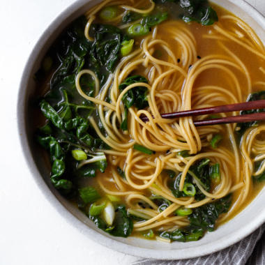 Garlicky Ginger Noodle Soup with Swiss Chard via forkknifeswoon.com