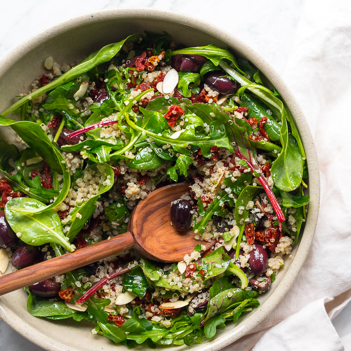 Mediterranean quinoa salad with spring greens fork knife swoon ccuart Images