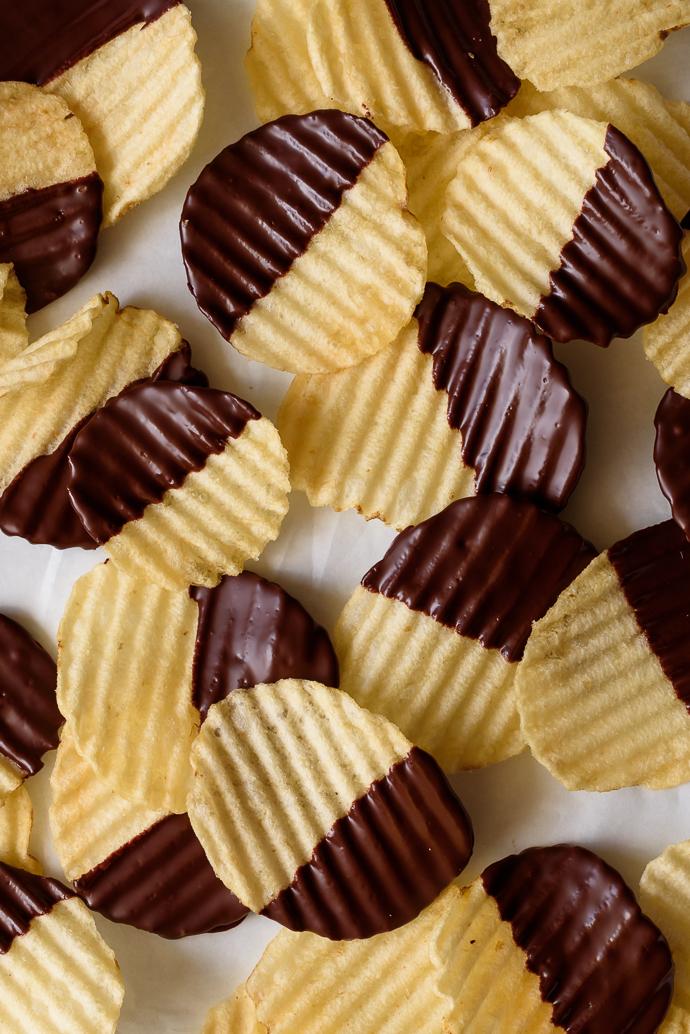 Crunchy Chocolate Peanut Butter Potato Chip Bonbons | via forkknifeswoon.com