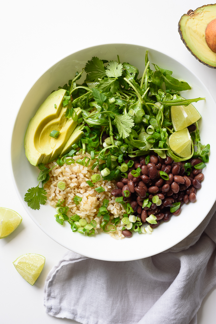 Healthy Black Bean and Rice Burrito Bowls with Cilantro-Lime Vinaigrette | via forkknifeswoon.com