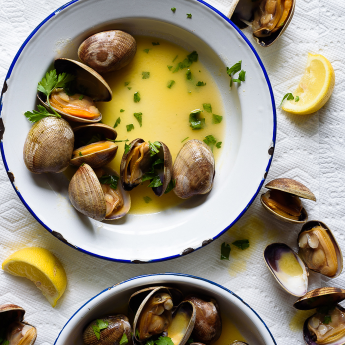 Grilled Manila Clams with Lemon Herb Butter - Fork Knife Swoon
