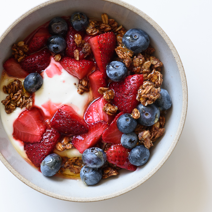Roasted Strawberry Yogurt Breakfast Bowls with Chocolate-Coconut Granola | via forkknifeswoon.com