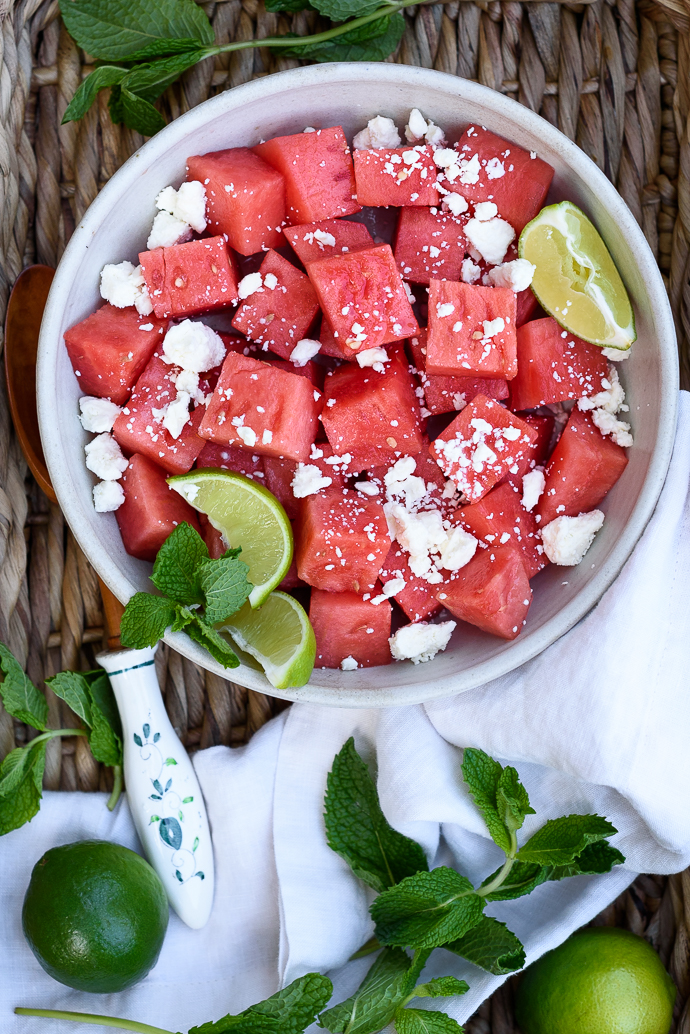 Easy Watermelon Feta Salad with Lime - perfect for Summer! | via forkknifeswoon.com