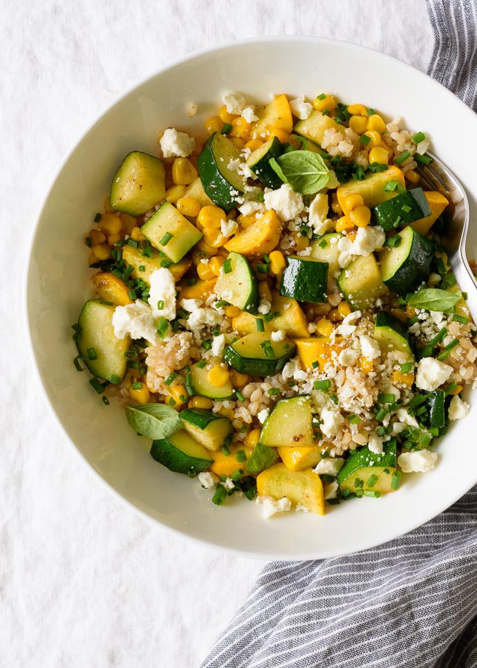 Sweet Corn and Summer Squash Grain Salad | via forkknifeswoon.com @forkknifeswoon