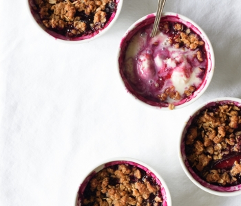 Simple Cardamom Spiced Blueberry Plum Crumbles | via forkknifeswoon.com @forkknifeswoon
