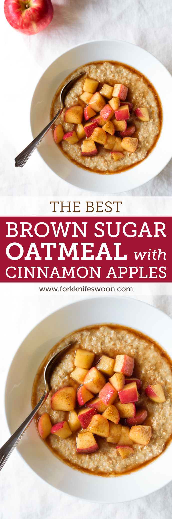 Best Homemade Brown Sugar Oatmeal with Maple Cinnamon Apples | via forkknifeswoon.com @forkknifeswoon