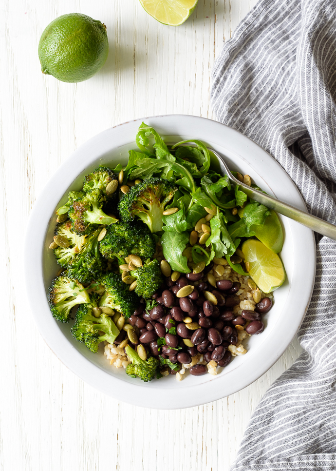 Quick Roasted Broccoli Burrito Bowls | via forkknifeswoon.com @forkknifeswoon
