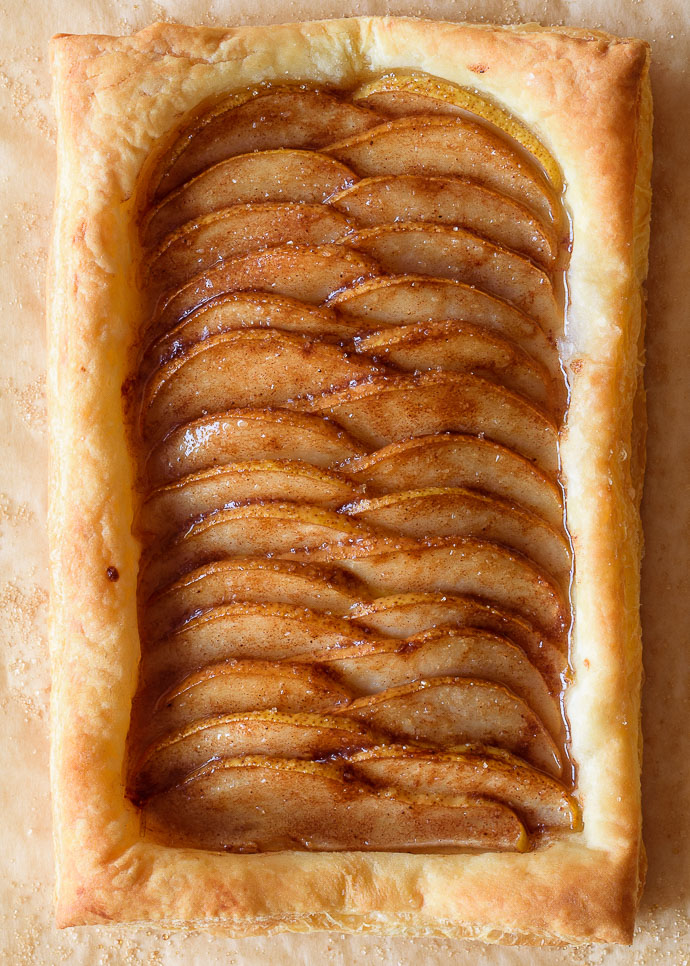 ginger pear puff pastry tart