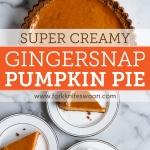 Gingersnap Pumpkin Pie: My very favorite smooth and creamy pumpkin pie recipe with a gingersnap cookie crust via forkknifeswoon.com | @forkknifeswoon