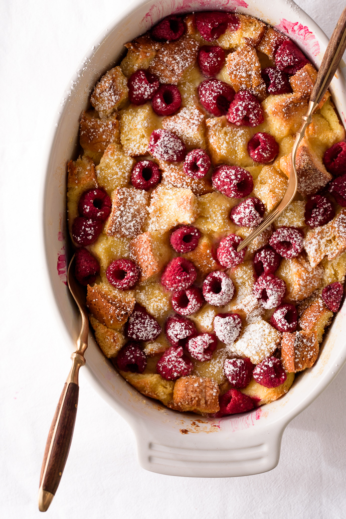 Citrus and Raspberry Brioche Bread Pudding via forkknifeswoon.com | @forkknifeswoon