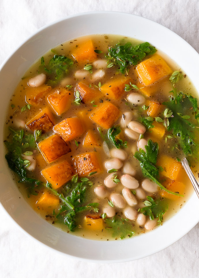 white bean soup with butternut squash and kale