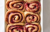 Raspberry Jam Cinnamon Rolls via Fork Knife Swoon | forkknifeswoon.com