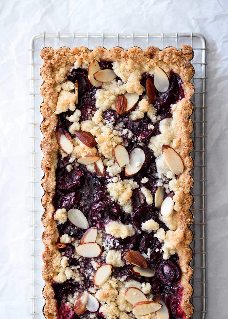 Sweet Cherry Almond Tart (gf) via forkknifeswoon.com | @forkknifeswoon