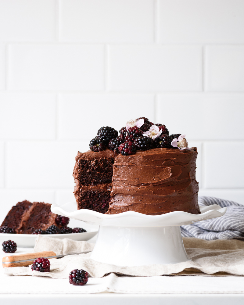 Blackberry Chocolate Cake with Blackberry Buttercream Fork Knife Swoon