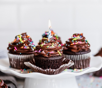 Easy Chocolate Birthday Cupcakes with Chocolate Buttercream Frosting and Sprinkles via forkknifeswoon.com