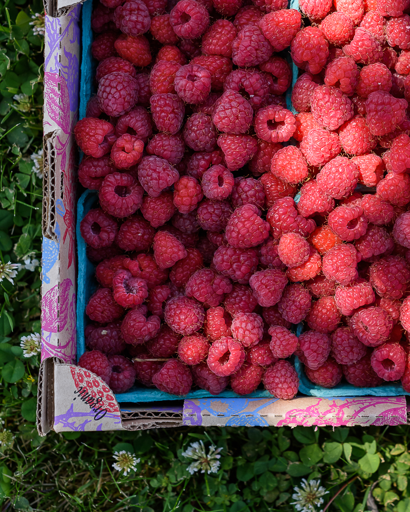 A flat of fresh summer raspberries from the farmers market via forkknifeswoon.com