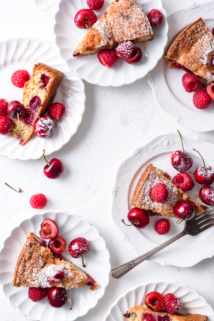 Sweet Cherry Torte with Raspberries via forkknifeswoon.com
