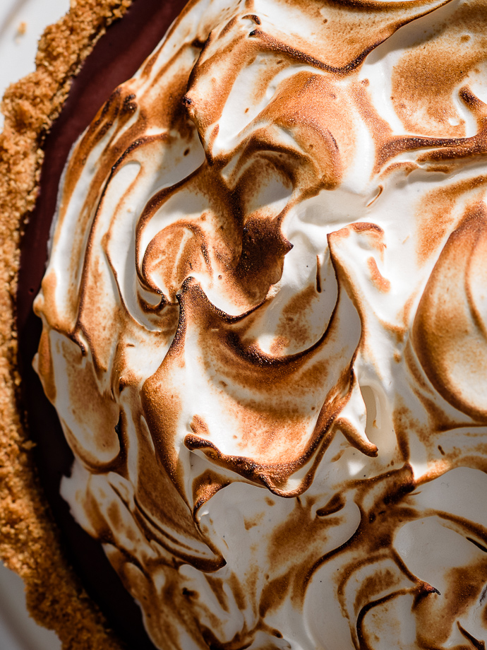 Closeup of S'mores Tart with Toasted Marshmallow Meringue via forkknifeswoon.com