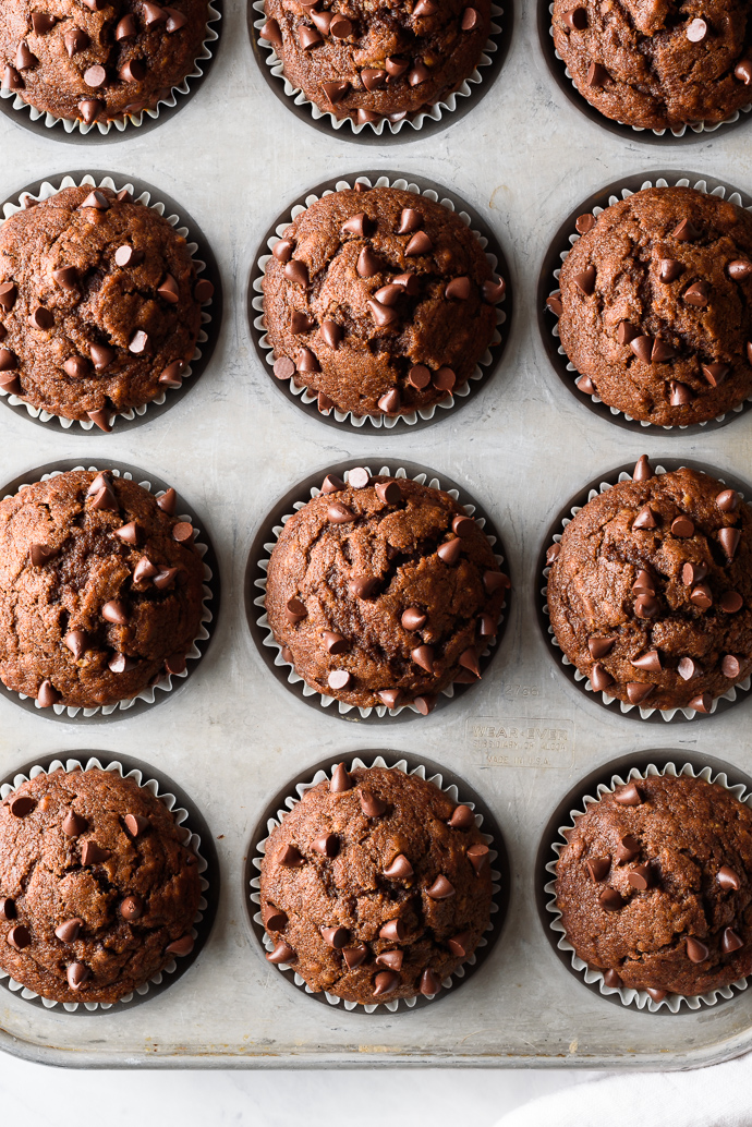 One Bowl Dark Chocolate Pumpkin Muffins via forkknifeswoon