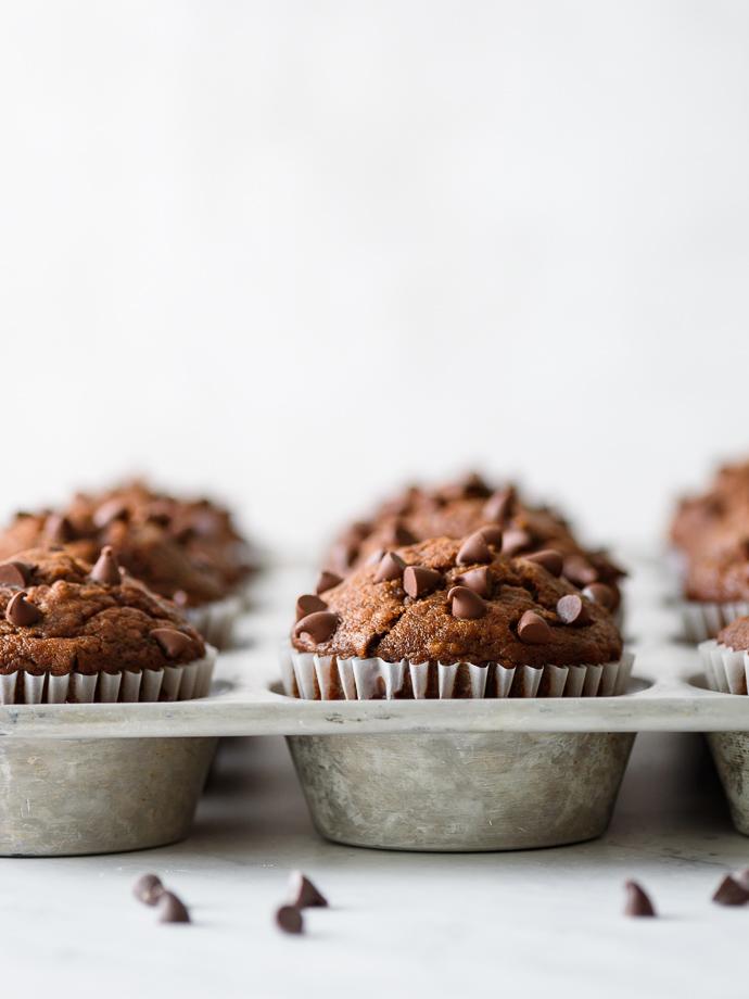 One Bowl Dark Chocolate Pumpkin Muffins via forkknifeswoon