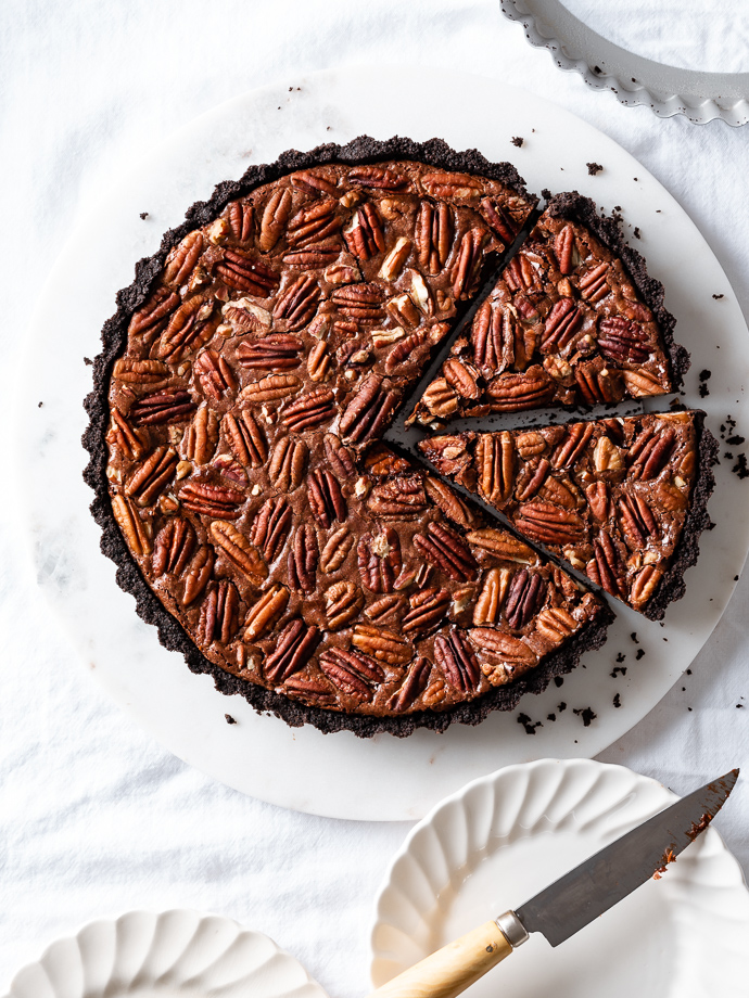 double chocolate pecan pie tart via forkknifeswoon.com