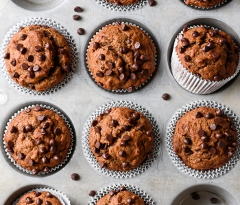 Naturally-sweetened chocolate chip banana muffins (vegan) via forkknifeswoon.com