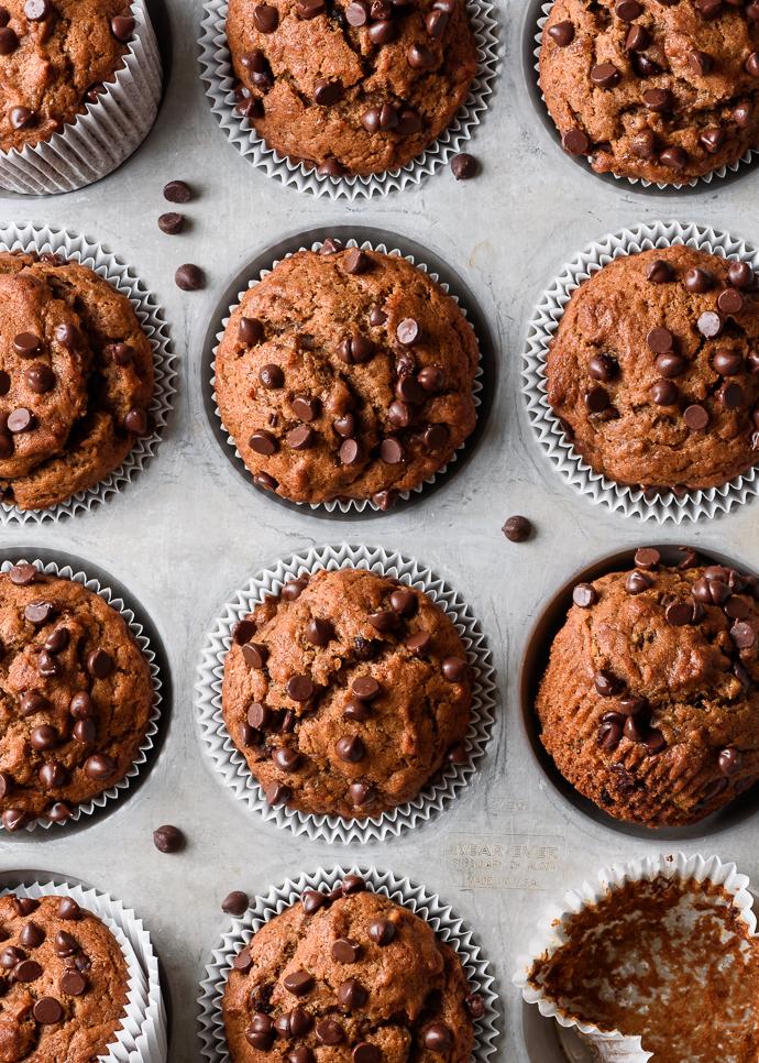 Naturally-sweetened chocolate chip banana muffins (vegan) via forkknifeswoon.com