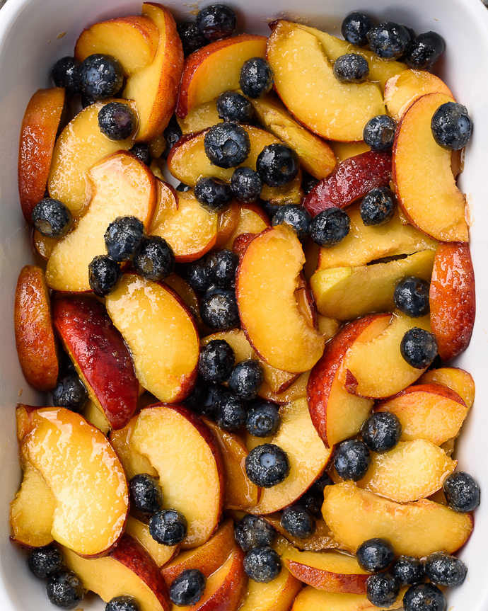peach and blueberry filling ready for a pie via forkknifeswoon.com