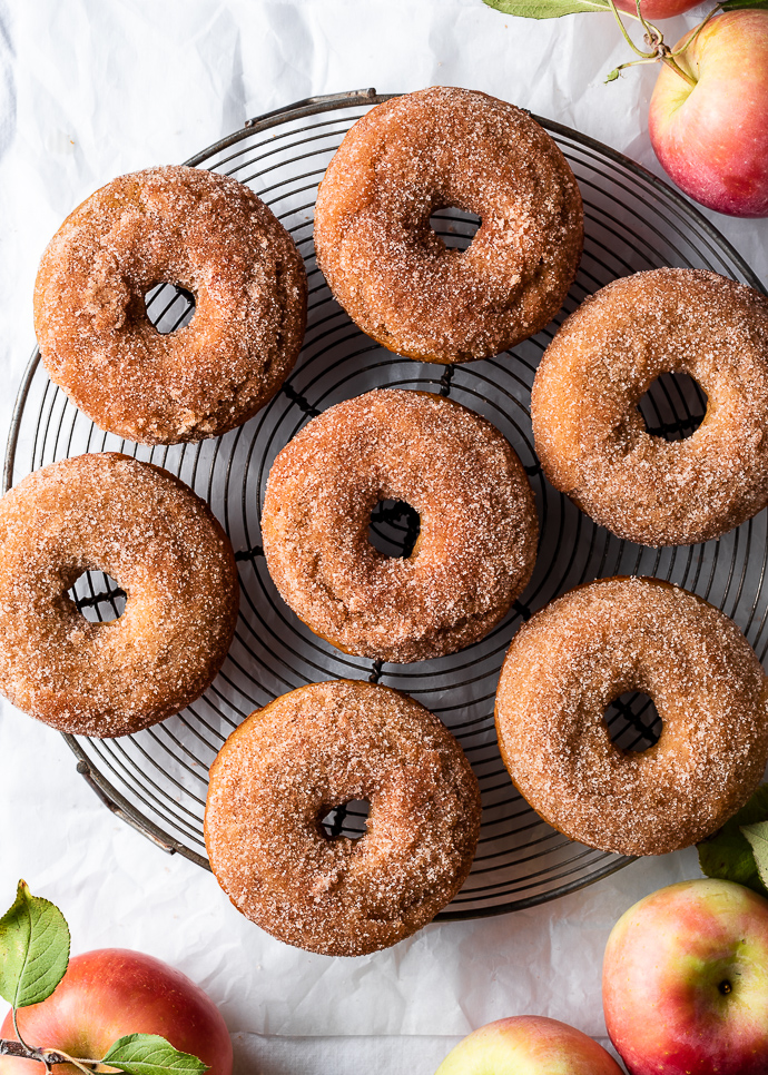 Baked apple donuts with cinnamon sugar (vegan option) from forkknifeswoon.com