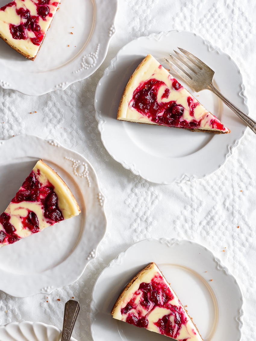 cranberry swirl cheesecake recipe from forkknifeswoon.com