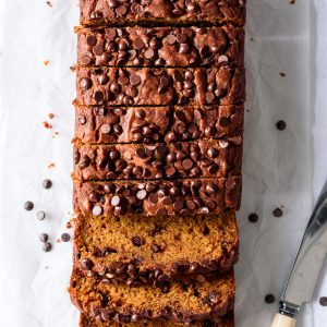 Chocolate Chip Pumpkin Bread (vegan) from forkknifeswoon.com