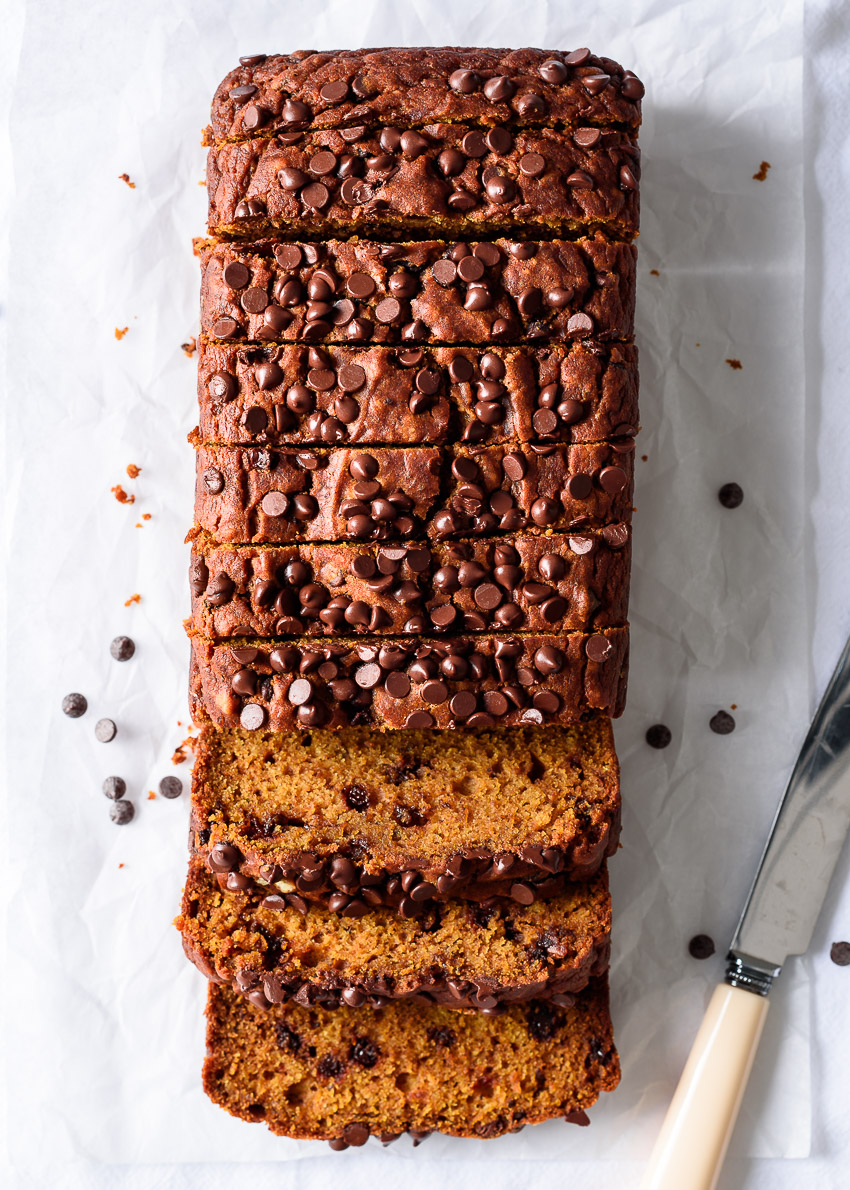 Chocolate Chip Pumpkin Bread (vegan) from forkknifeswoon.com