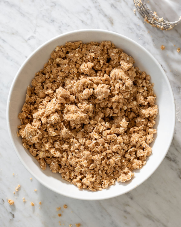 crumb topping for strawberry jam bars in a mixing bowl from forkknifeswoon.com